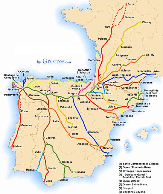 The many ways of walking the Camino de Santiago Source: https://www.pilgrimagetraveler.com/way-of-st-james.html