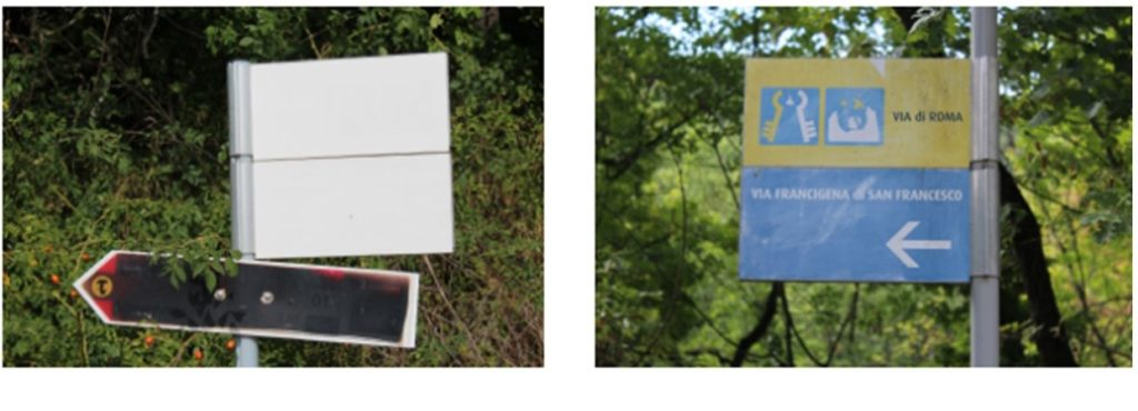 Poor signage (left) and good signage (right) - the difference between possibly losing your way or staying on track. (Photo: © Henri Craemer)