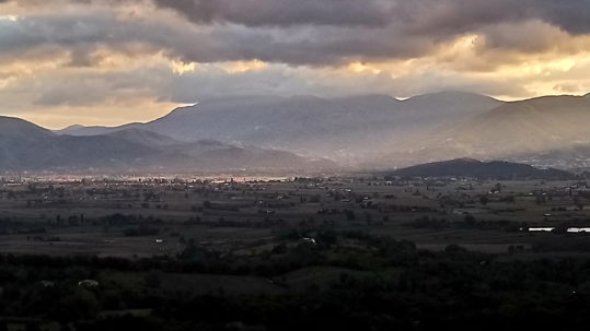 Valle Santa under a brooding sky from veranda of our room. (Photo: © Henri Craemer)