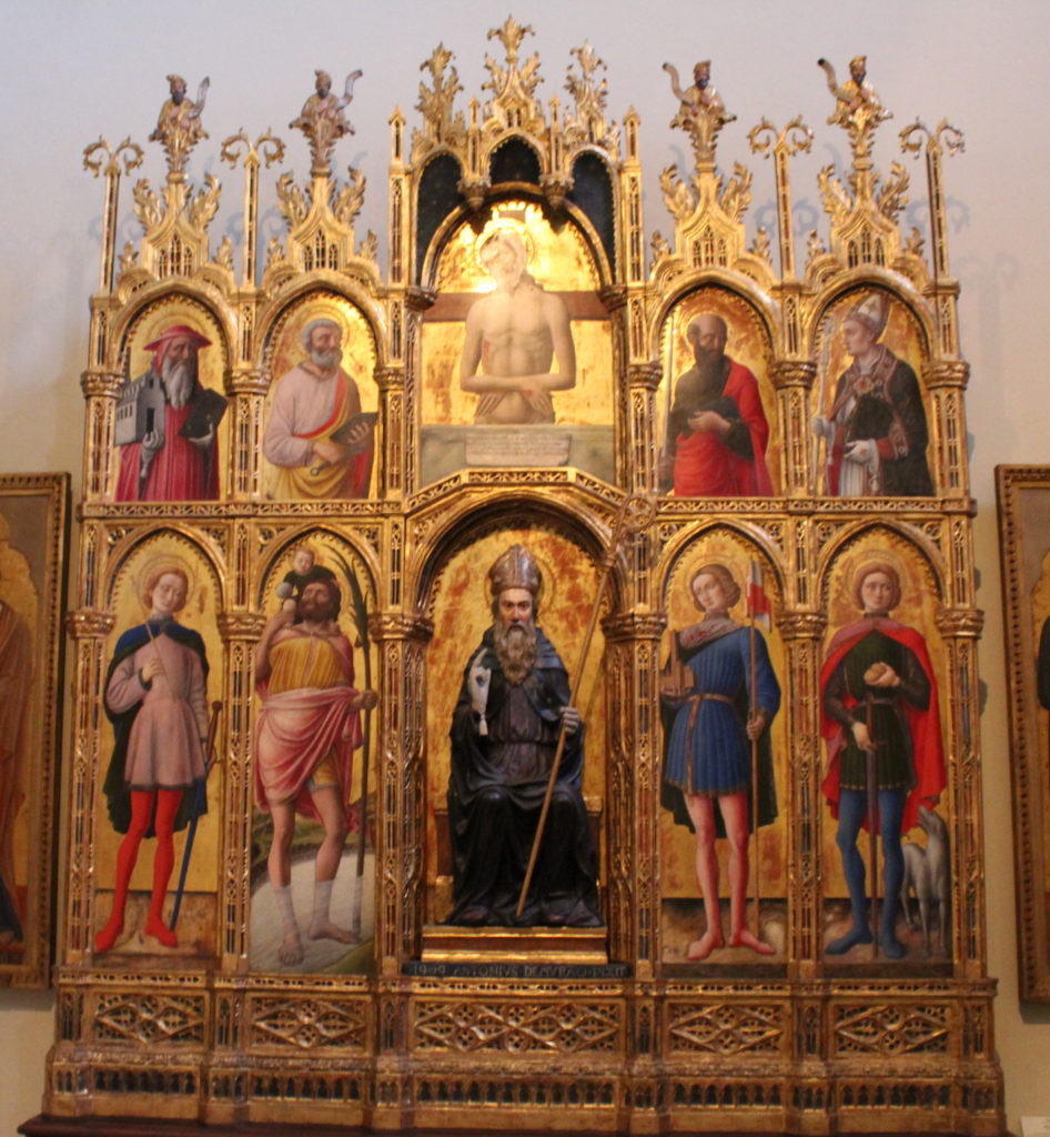 A polyptic of Christ (top centre), St Anthony Abbott (bottom centre), and various saints, by Antonio and Bartolomeo Vivarini (Photo: Henri Craemer)